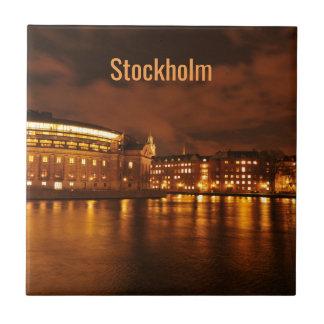 Stockholm, Sweden at night Tile