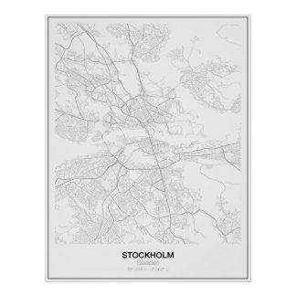 Stockholm, Sweden, Minimalist Map poster (Style 2)