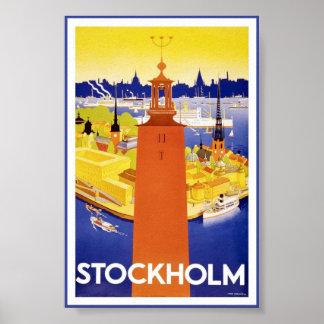 Stockholm Sweden Swedish Vintage Travel Poster