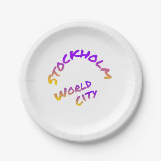 Stockholm world city, colorful text art paper plate