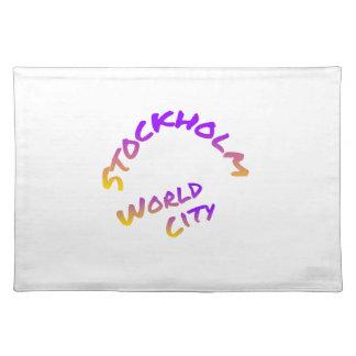 Stockholm world city, colorful text art placemat