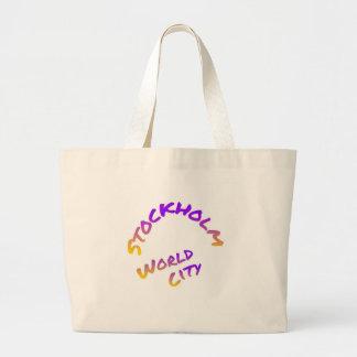 Stockholm world city,  colorful word art large tote bag