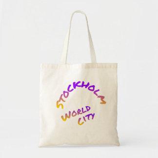 Stockholm world city,  colorful word art tote bag