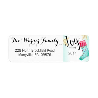 Stocking and Stars Christmas Return Address Labels