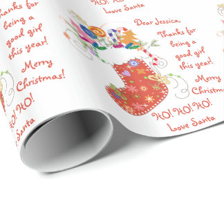 Stocking Letter from Santa Christmas Xmas Wrapping Paper