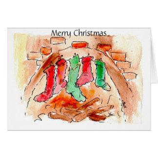 Stockings Fireplace Merry Christmas Xmas Art Cards