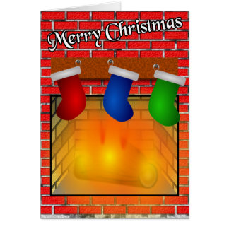 Stockings over a Fireplace Christmas Card