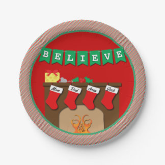 Stockings Were Hung by Chimney • 4 Stockings 7 Inch Paper Plate