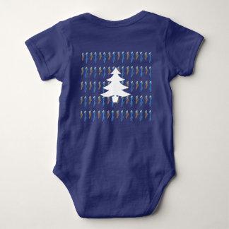 Stockings Wreath Tree on Blue Baby Bodysuit