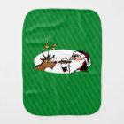 Stogie Santa and Reindeer on Green Stripes Burp Cloth