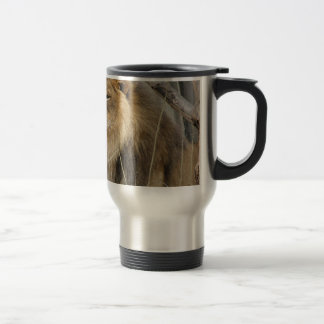 Stoic Lion Looking Off into the Distance Travel Mug