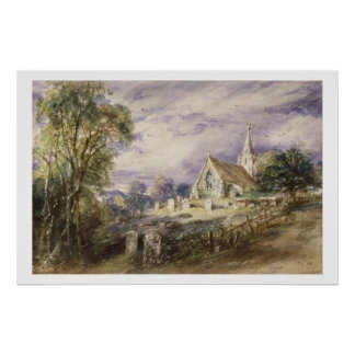 Stoke Poges Church, 1833 (w/c on paper) Poster