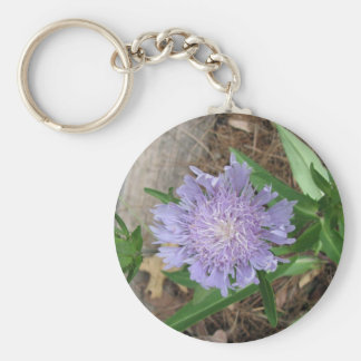 Stokes Aster, Stokesia laevis Basic Round Button Key Ring