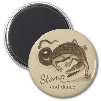 Stomp and dance CC0894 Wild happy crocodile 6 Cm Round Magnet