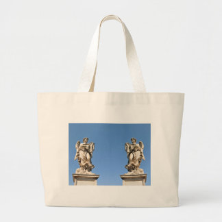 Stone angel in Rome, Italy Large Tote Bag
