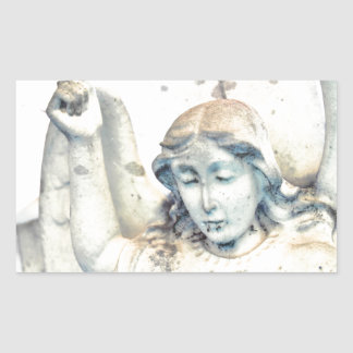 Stone angel portrait rectangular sticker