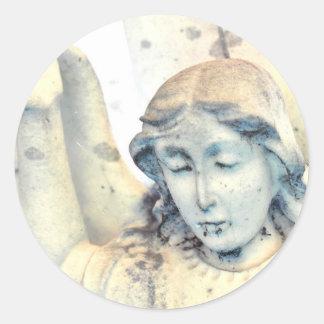 Stone angel portrait round sticker