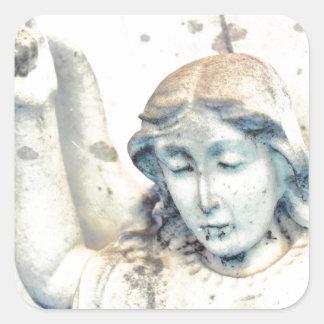 Stone angel portrait square sticker