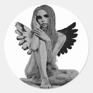 Stone angel round sticker