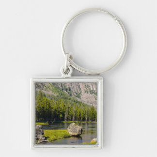 Stone At Madison River Silver-Colored Square Key Ring
