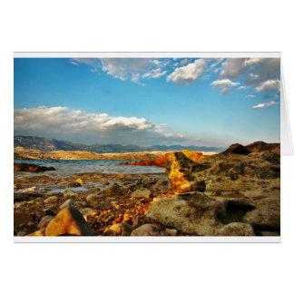 Stone beach on the island Pag in Croatia Card