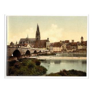 Stone Bridge (i.e. Steinerne Brucke) and cathedral Postcard
