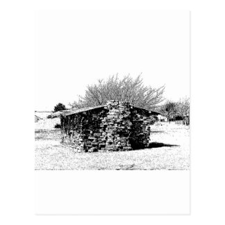 Stone Cabin in Black and White Postcard