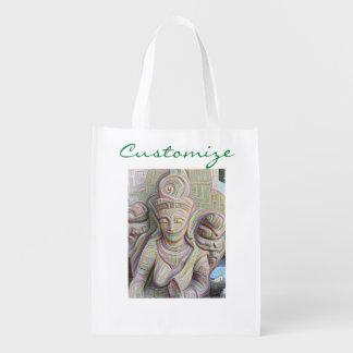 Stone carved dakinis reusable grocery bag