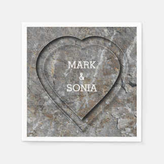 Stone carved heart Bride and Groom Disposable Serviettes