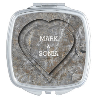 Stone carved heart Bride and Groom Mirror For Makeup
