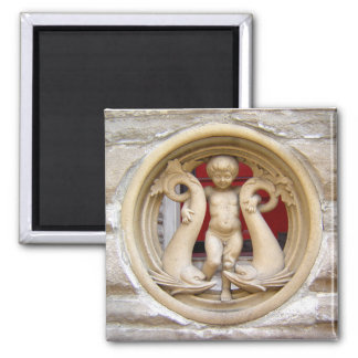 Stone Citizens granite putto and dolphins Square Magnet