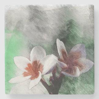 Stone Coaster - Watercolor Pulmaria Flower v2bm