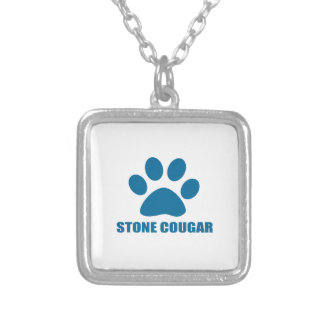 STONE COUGAR CAT DESIGNS SILVER PLATED NECKLACE