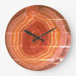 Stone detail orange contemporary modern design large clock