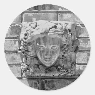Stone faced classic round sticker