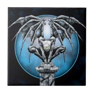 Stone Gargoyle with Blue Moon Ceramic Tile