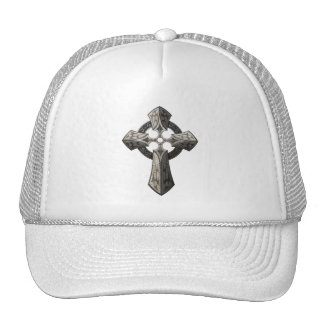Stone Gothic Cross with Tribal Inlays Trucker Hats