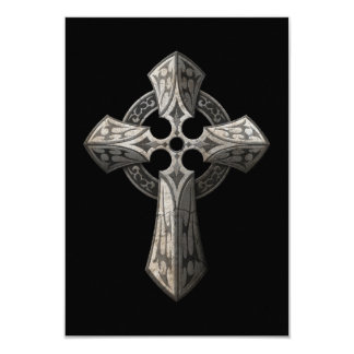 Stone Gothic Cross with Tribal Inlays on Black Invitation