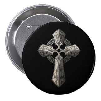 Stone Gothic Cross with Tribal Inlays on Black Pin