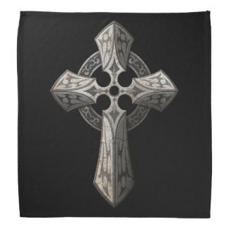 Stone Gothic Cross with Tribal Inlays on Black Bandanna