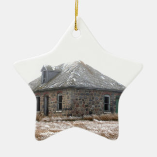 Stone Home abandoned on the prairies Ceramic Ornament