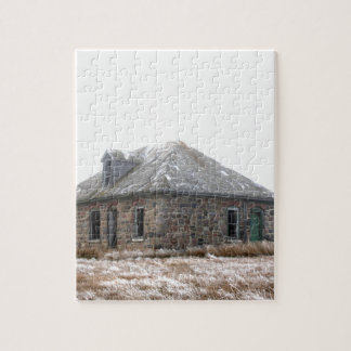 Stone Home abandoned on the prairies Jigsaw Puzzle