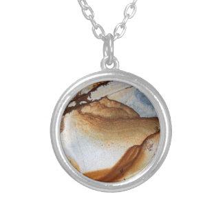 Stone Image Brown Tan Rust Cream & White Necklace