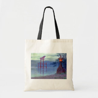 Stone lantern on shore by Y Ito Canvas Bag