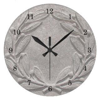 Stone Laurel Wreath Large Clock