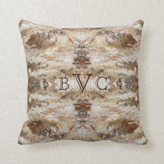 Stone-Look Masculine 3 Initials Monogrammed Pillow