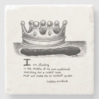 Stone marble coaster quote art black and white