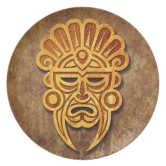 Stone Mayan Mask Dinner Plates