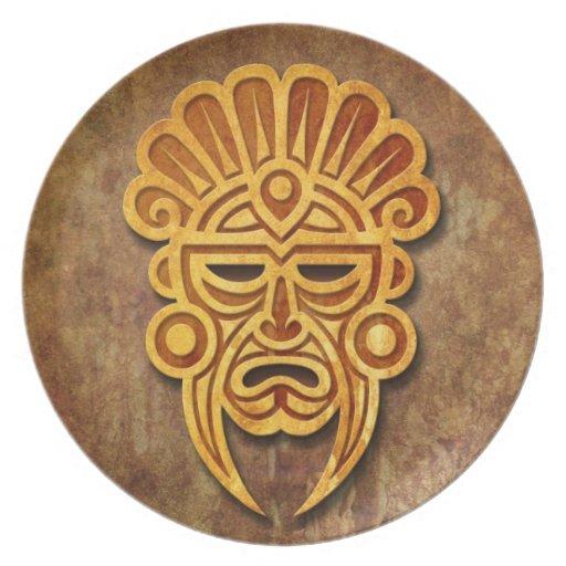 Stone Mayan Mask Dinner Plates