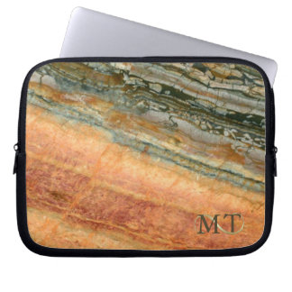 Stone Monogram Marble Orange ID332 Computer Sleeves